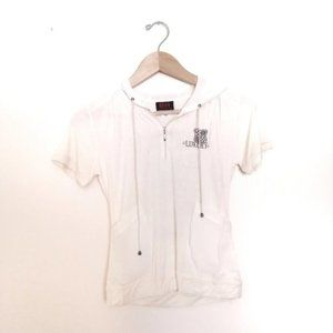 BH Cream Color Short Sleeve Top with Hood